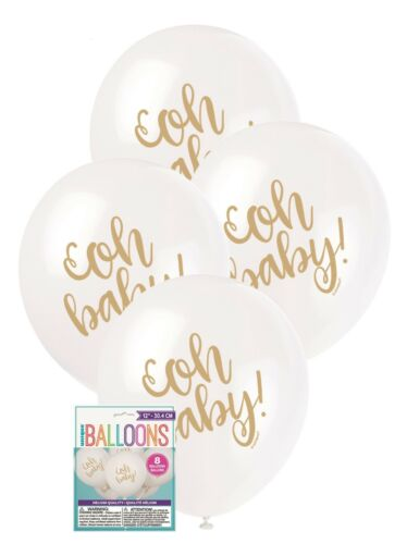 Baby Shower Party White Balloons Decoration 30cm Helium Unisex 8 x Gold Oh Baby