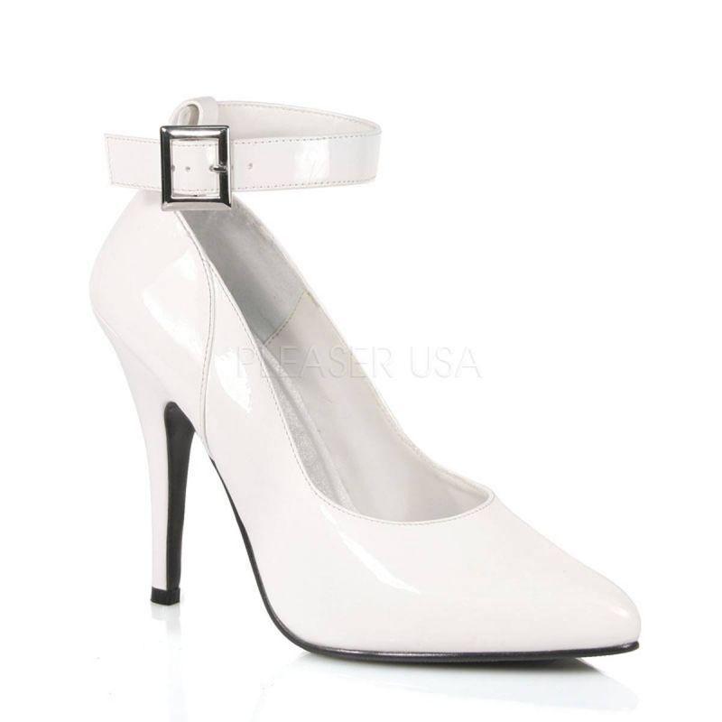 PLEASER SEDUCE-431 Pump Weifl Lack Ankle-Strap Hochzeit Braut Tabledance Gogo ...