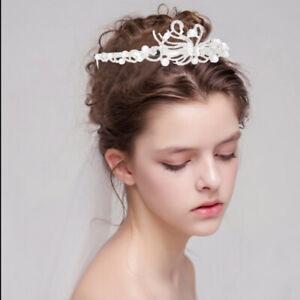 Pearl Flower Crown Crystal Hair Pins Bridal Bridesmaid Side Comb Jewelry Wedding