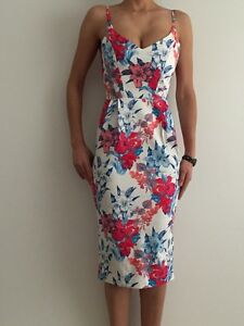 Women-039-s-Pink-Blue-Floral-Sleeveless-Bodycon-Eve-Races-Cocktail-Party-Midi-Dress