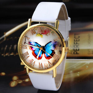 Womens-Watch-Ladies-Butterfly-Style-Leather-Band-Analog-Quartz-Wrist-Watch-White