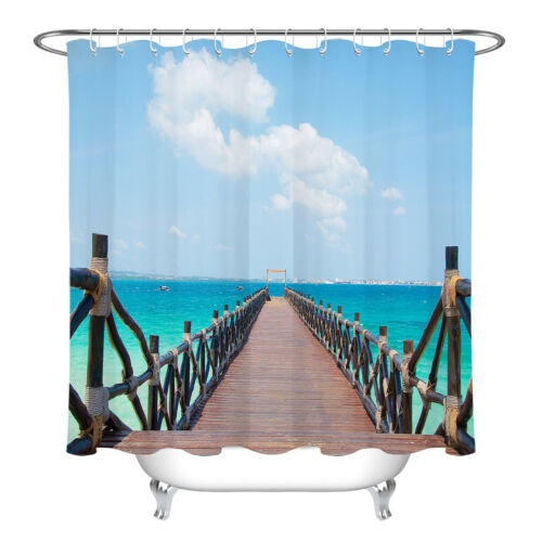 LB Beach Trestle Shower Curtain Liner Waterproof Fabric Bathroom Sets /& 12 Hooks