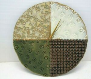 12-034-Ceramic-Stoneware-Plate-Recycled-Re-Purposed-Wall-Clock-Made-USA-Home-Made