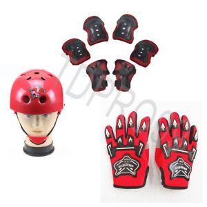 Kids Roller Skate Push Scooter Skateboard Helmet Knee Elbow Wrist Pad Gloves Red