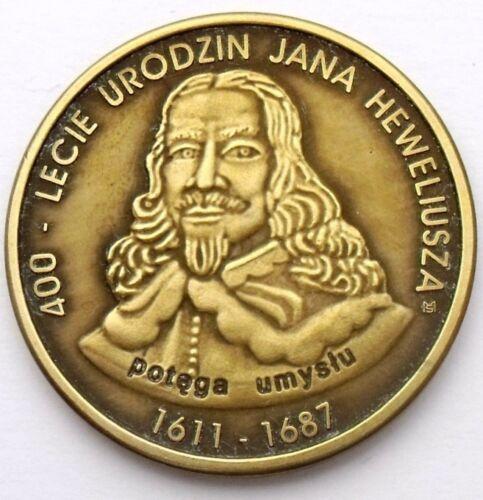 JOHANNES HEVELIUS 400 ANNIV BIRTH OXIDIZED ! POLAND 1 HEWELIUSZ 2011 ASTRONOMY