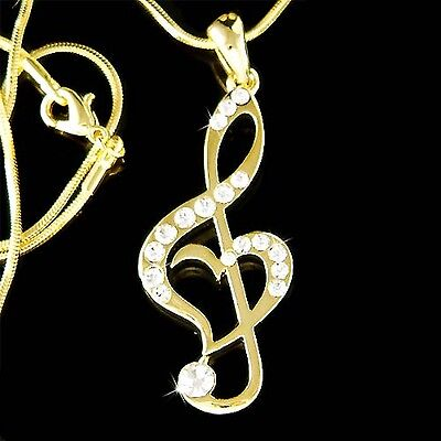 w Swarovski Crystal TREBLE G CLEF Love MUSIC MUSICAL NOTE Heart Gold PL Necklace