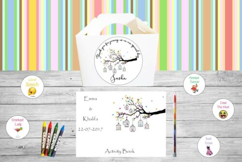 Personalised Childrens Kids Wedding Activity Pack Party Bag Favour Box  WB14