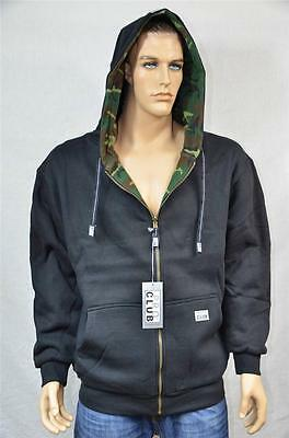 1 NEW PROCLUB FULL ZIP HOOD PRO CLUB SWEATSHIRT HOODIE BLACK/CAMO S-7XL 1PC