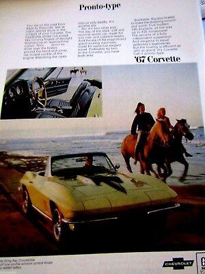 "1968 Corvette Sting Ray Coupe Camaro SS 2 Page Original Print Ad-8.5 x 11/"""