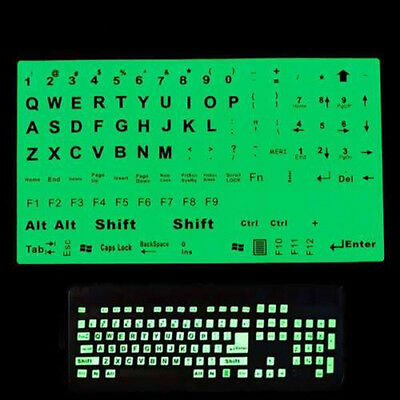 English  Keyboard Fluorescent Sticker Large Black Letters for Computer Laptop LW
