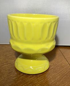 Vintage McCoy Floraline Pottery Pedestal Planter #574 Yellow Mid Century