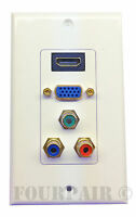 Hdmi Vga Component Video Media Wall Plate 3-rca Rgb Outlet Jack Hdtv - White