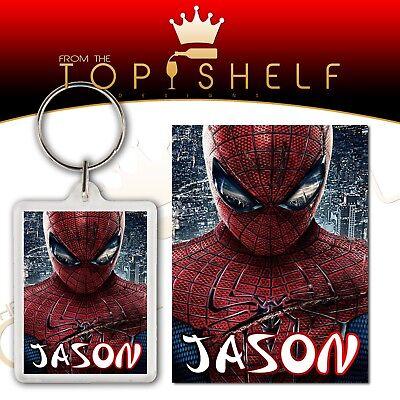 Personalised spiderman keyring bag tag any name