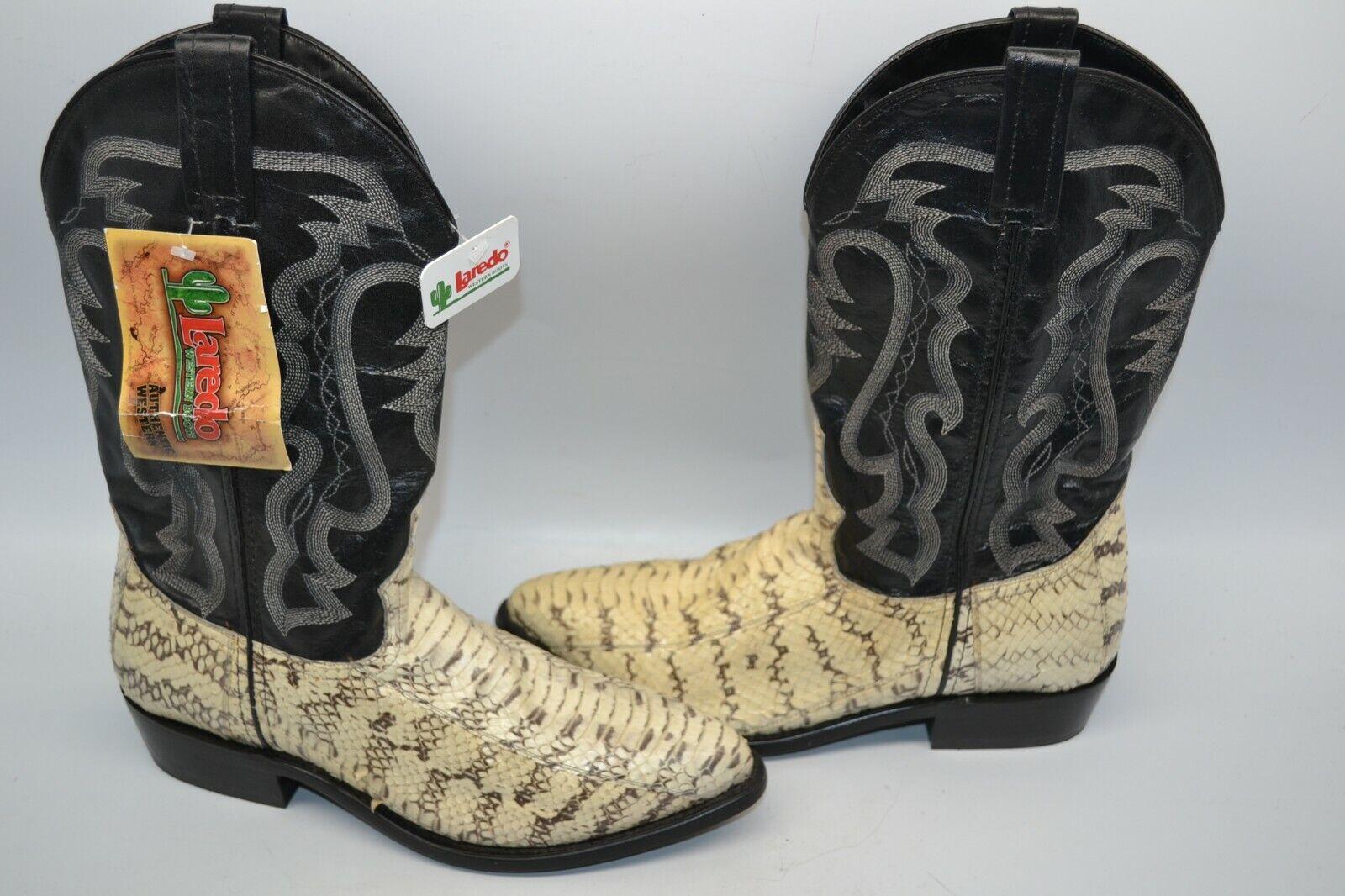 Larojoo 6763 exótico Serpiente  Negro Western Cowboy botas de Montar 9 D Punta rojoonda
