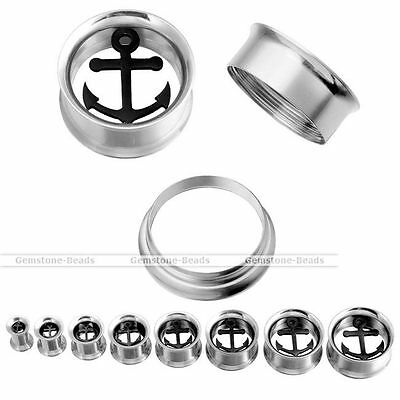 Pair Punk Stainless Steel Hollow Anchor Ear Plugs Flesh Gauges Tunnels Stretcher