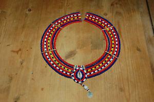Muy-Bonito-Antiguo-Collar-Africana-Pequenas-Cuentas-Colores-Ceremonia