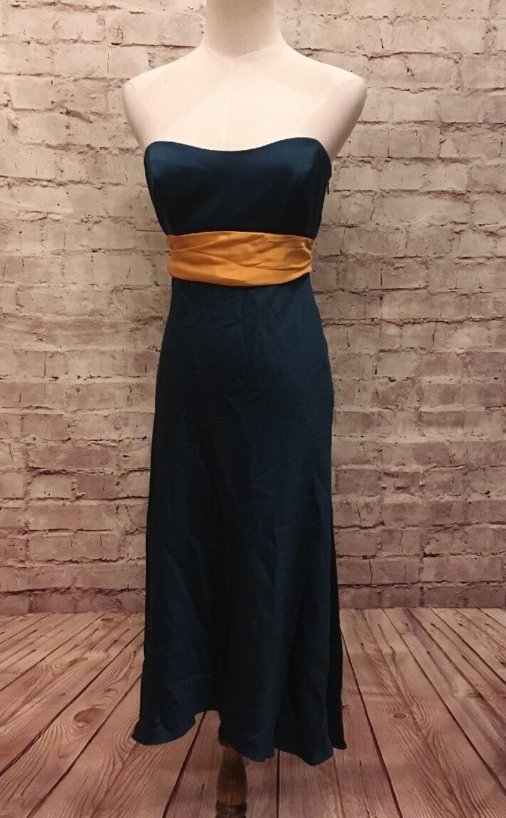 Nicole Miller Collection  Teal Grün Gold Sash Silk Cocktail Party Dress Größe 2