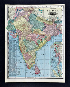 1903 tunison map india nepal burma punjab pakistan bombay calcutta image is loading 1903 tunison map india nepal burma punjab pakistan gumiabroncs Choice Image