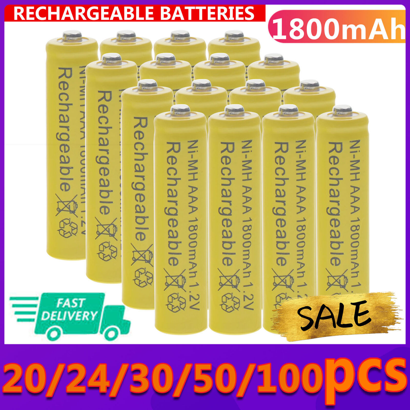 20-100pcs AAA 1800mAh 3A 1.2V Ni-MH Yellow Rechargeable Battery Cell for MP3 RC