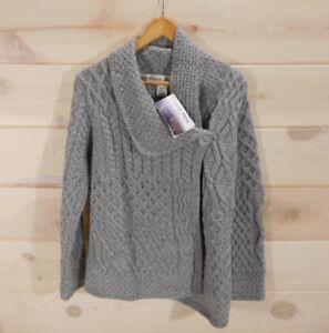 Aran-Mor-Ireland-Women-039-s-M-Sweater-100-Merino-Wool-Gray-Asymmetric-Button-Cable
