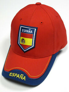 ed007485ee6 Image is loading Espana-Spain-Red-Soccer-Country-Hat-Cap-EMBROIDERED-