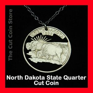 North-Dakota-25-ND-Quarter-Cut-Coin-Jewelry-American-Bison-Buffalo