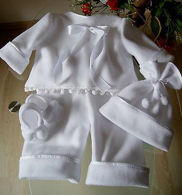 Taufbekleidung *Taufkleid  Fleece Taufanzug Taufe  weiß 4-teilig oder 2-teilig