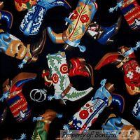 BonEful FABRIC FQ Cotton Quilt Black Red Blue B&W Texas Cowboy Girl Boots Flower