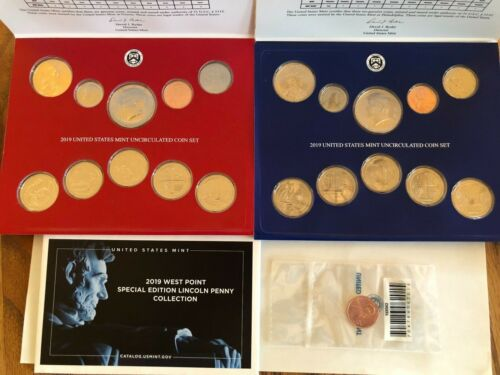 2019 US Mint UC Red /& Blue Sets /& UC W Penny 21 coins for 2019