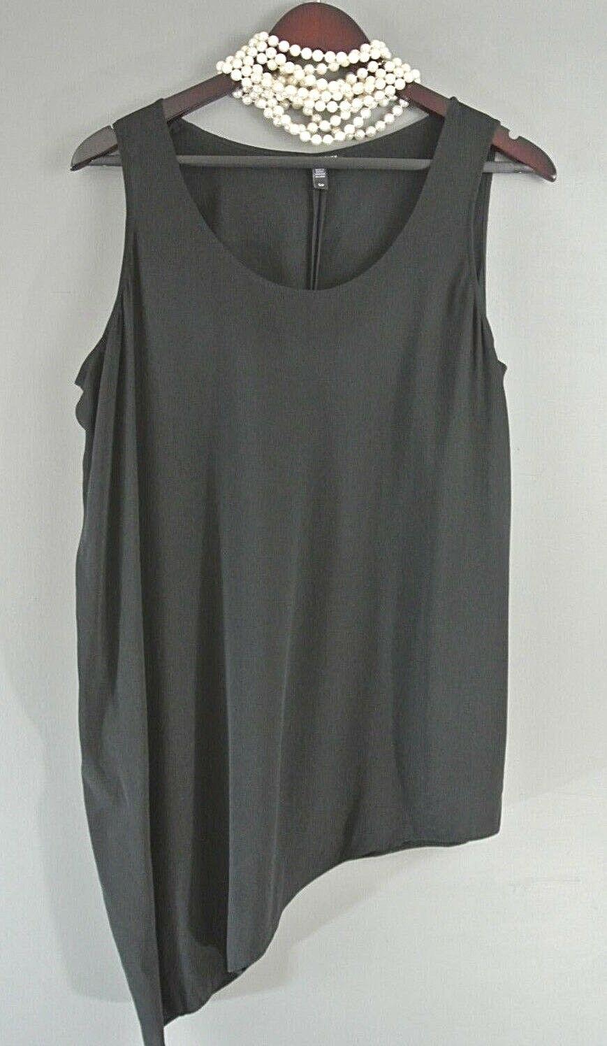 Eileen Fisher 100% Silk Sleeveless Blouse S P schwarz Asymmetrical Tank Top