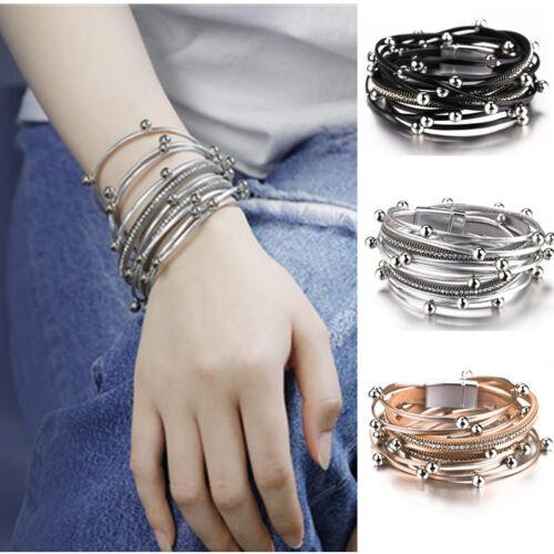 TRENDY couches multiples perles bracelets en cuir aimant fermoir Classique Corde Bijoux