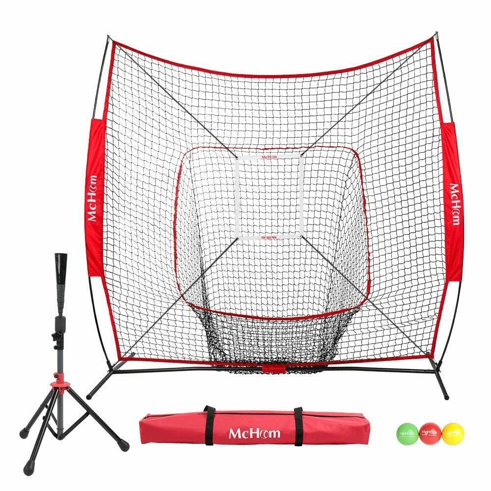 McHom 7' x 7' Baseball  Softball Net Set with Travel Tee, 3 Weighted Balls, Str