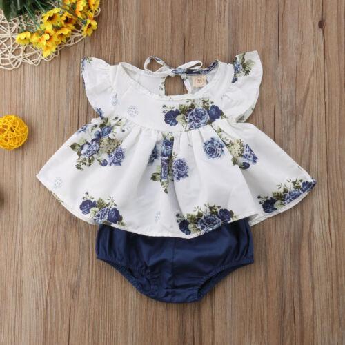 Newborn Baby Girl Floral T-shirt Mini Dress Tops Shorts Pants Cloth Outfit Set
