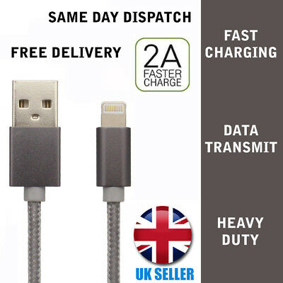 Begeistert Iphone 5 6 6s 7 8 Ipad Charging Lead Data Sync Usb Braided Cable Grey 1m Long