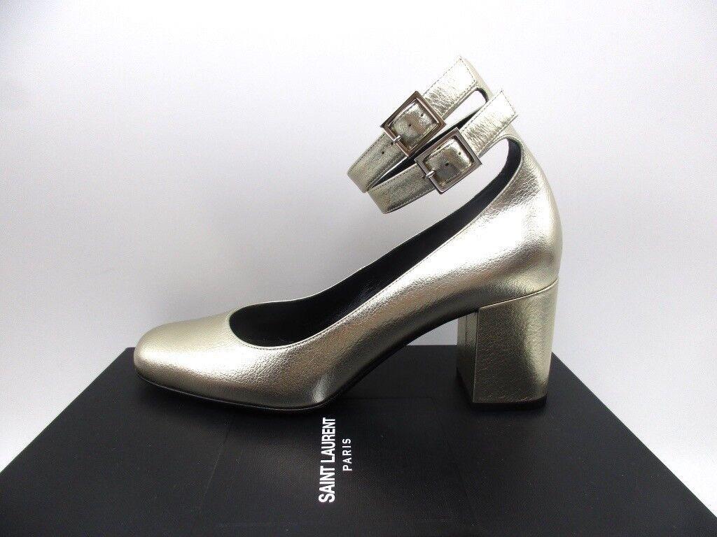 Saint Laurent Babies 70 Double Buckle Leather Metallic Pumps Shoes Heel 38.5 8.5