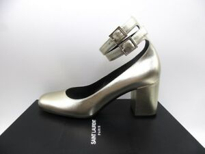 7048dfe0e Image is loading Saint-Laurent-Babies-70-Wedding-Leather-Metallic-Pumps-