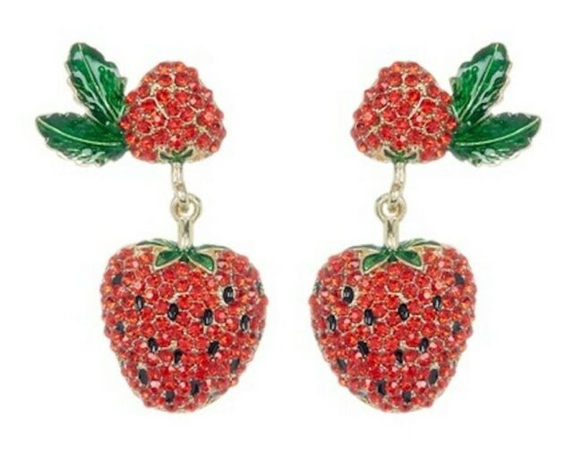 STRAWBERRY PAVE CRYSTAL DROP EARRINGS