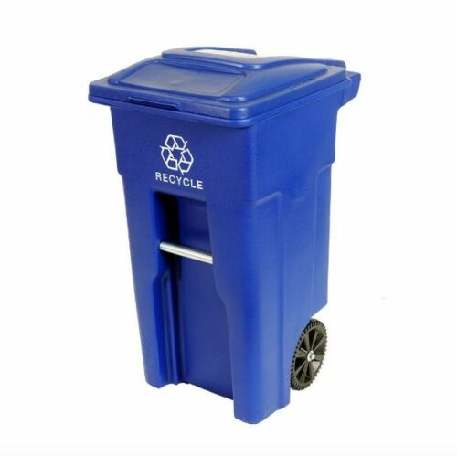 32 Gallon Wheeled Blue Recycling Recycle Trash Container Can Heavy Duty Bin Lid