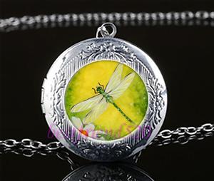Dragonfly-Foto-cabujon-de-vidrio-Amuleto-Colgante-Collar-Cadena-De-Plata-Tibet