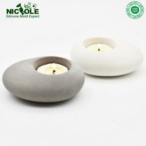 Cement-Candleholder-Silicone-Mold-Concrete-Tea-Light-DIY-Cobblestone-Handmade