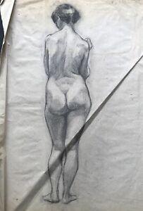 Dibujo-de-Pie-Mujer-Ruckenakt-Hembra-Desnudo-Estilo-Moderno-Krause-2