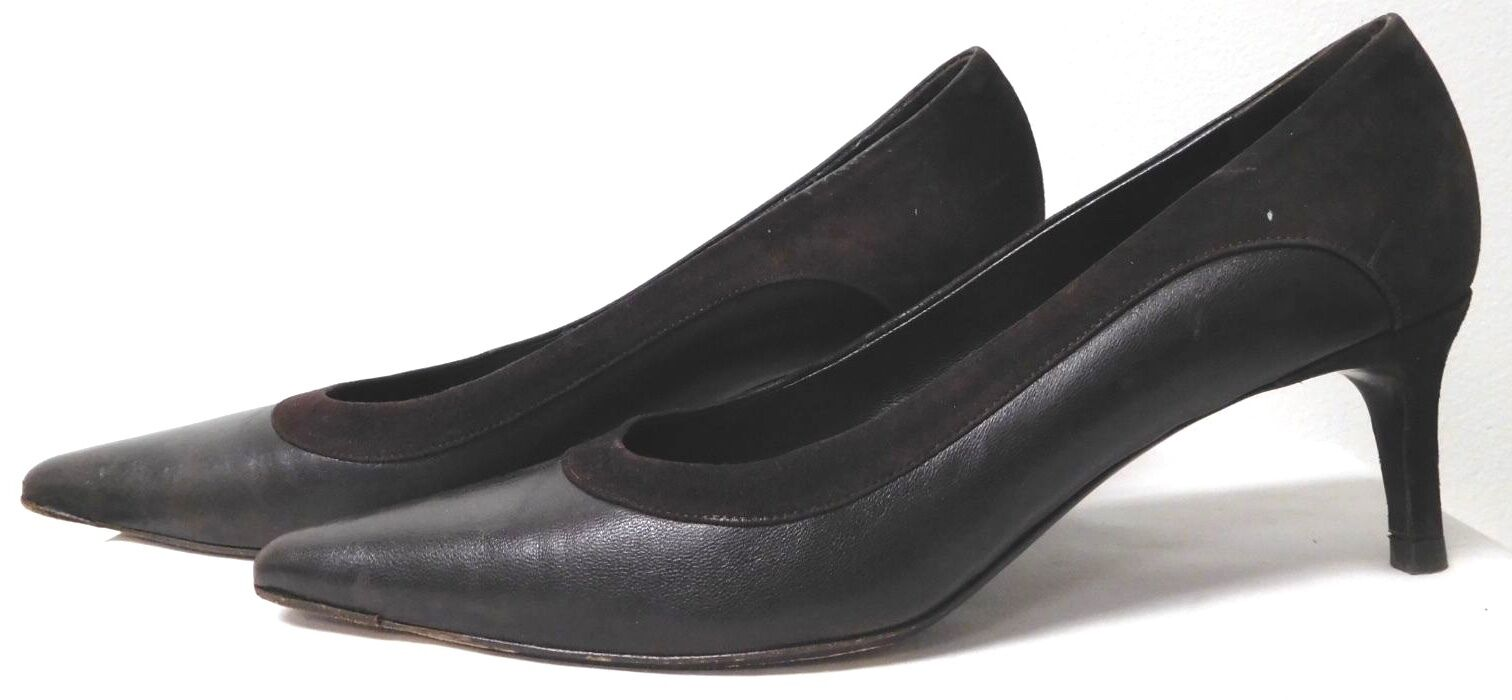 ST JOHN CLASSIC BROWN LEATHER POINTED TOE PUMPS W SUEDE TRIM 2.5