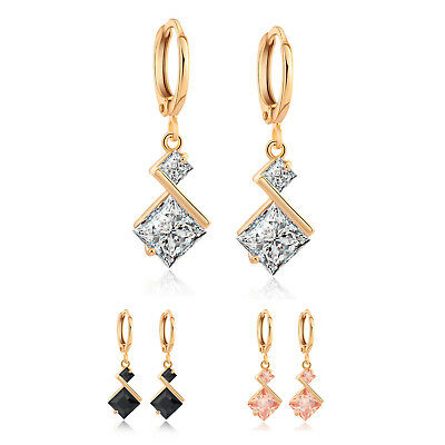 New Cute Champagne Square Earrings 18KT Rose Gold Filled Vintage Wedding Stud Earrings