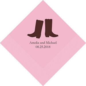 300 Western Boots Cowboy Theme Personalized Printed Wedding Cocktail Napkins