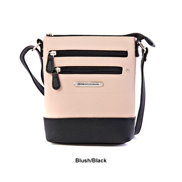 Stone Mountain Leather Mini Crossbody Handbag Blush Black Nwt Msrp 59