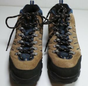 reebok brown/blue leather hiking shoes sneakers size 9 1/2