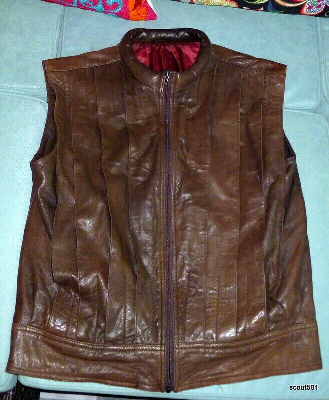 Vintage 1970s Fashion Pleated Brown Canadian Leather Vest