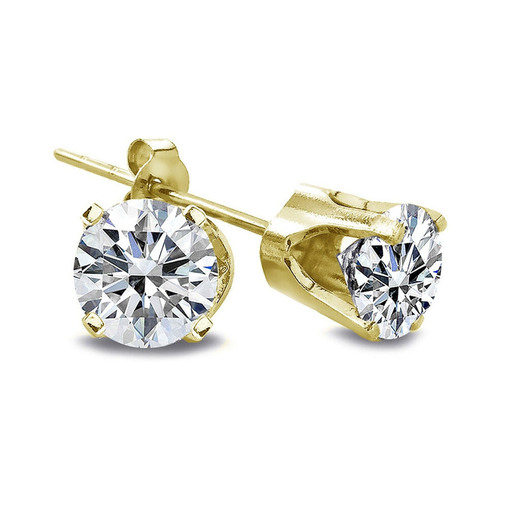 1 3 Ct Round Cut 14K Yellow gold Diamond Stud Earrings