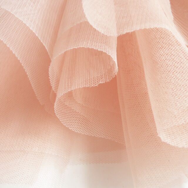 Blush Pastel Peach Pink Soft Tulle Veiling Fabric 150cm wide - by the metre