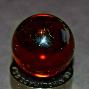 """Rare Christensen Collectors Clear Amber Toy Marble Shooter Size .968=31/32"""" Mint"""